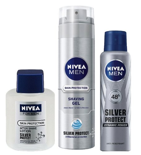 ensemble cadeau pour homme nivea silver protect d odorant atomiseur lotion apr s rasage. Black Bedroom Furniture Sets. Home Design Ideas